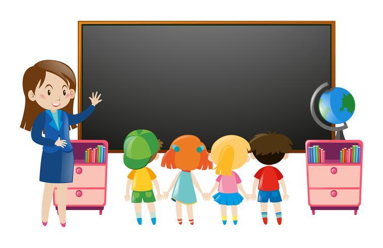 Crianças e professor em sala de aula