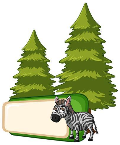 Modelo de banner com zebra e árvores