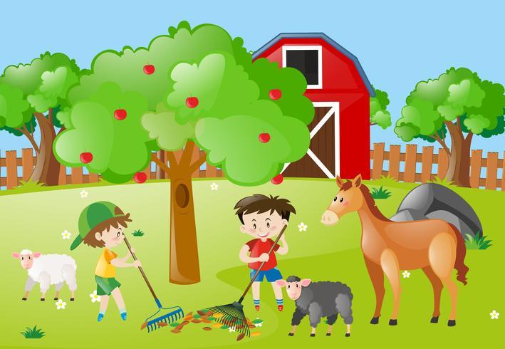 Escena de la granja con niños rastrillando hojas
