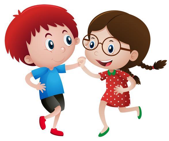 Menino e menina dançando