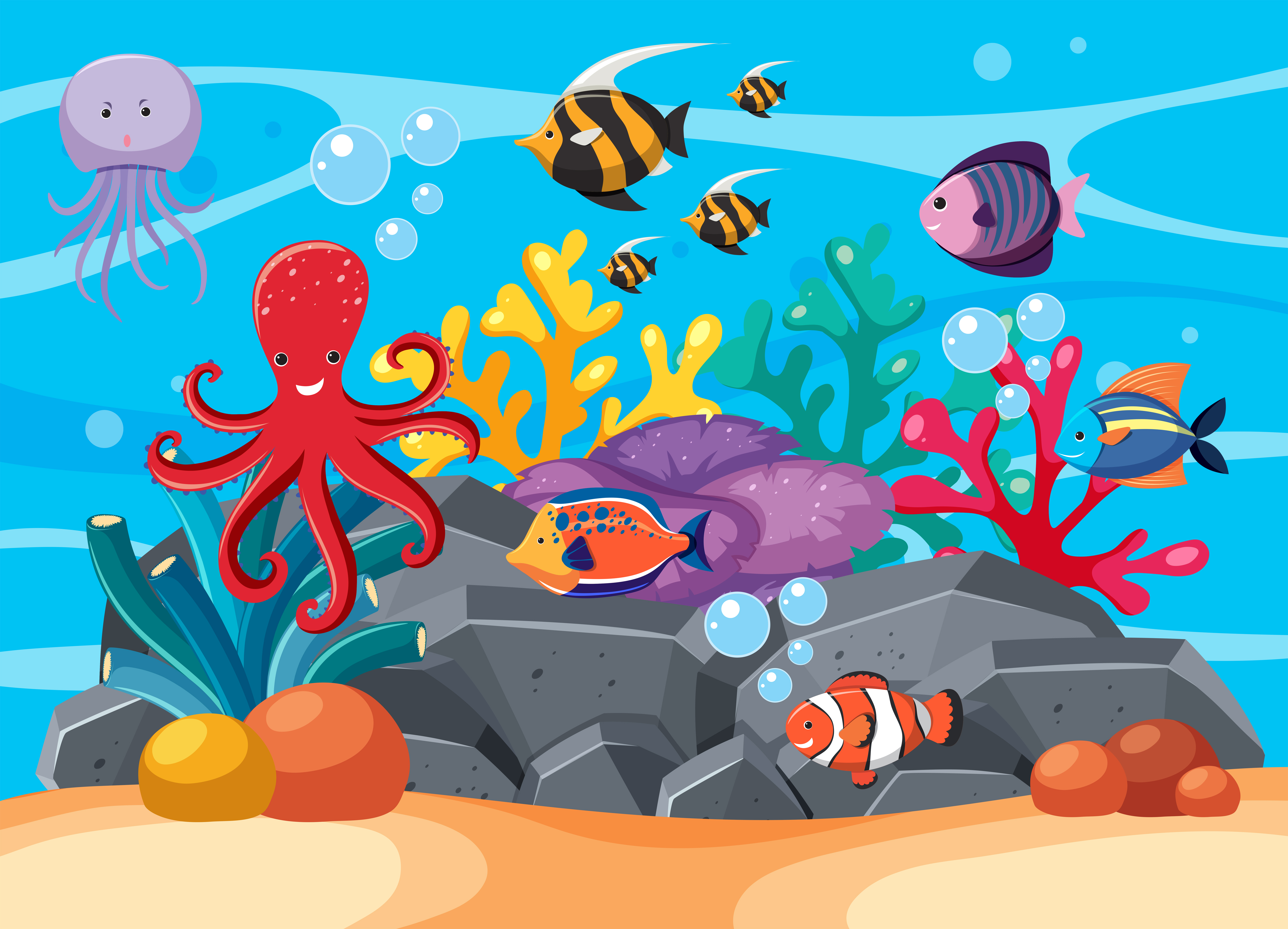 Underwater scene with many sea animals - Download Free ...