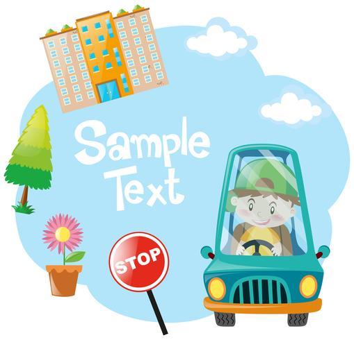 Pappersdesign med pojke som kör blå bil