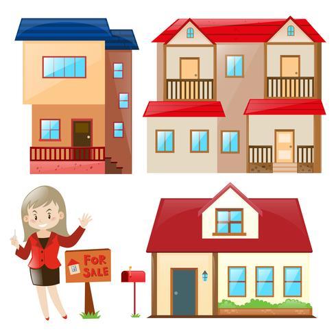 Saleperson vendendo casa e prédio