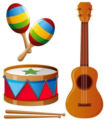 Diferentes tipos de instrumentos musicales.