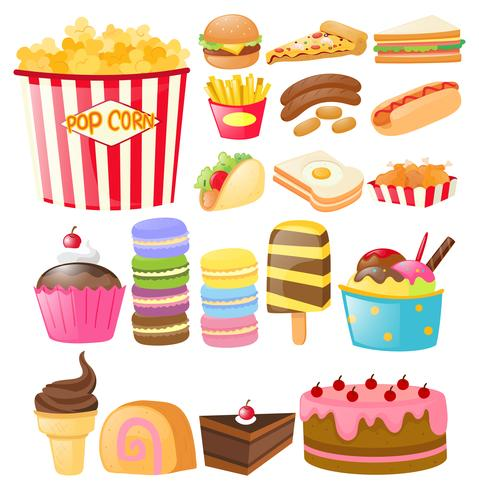 Food set with fastfood and desserts
