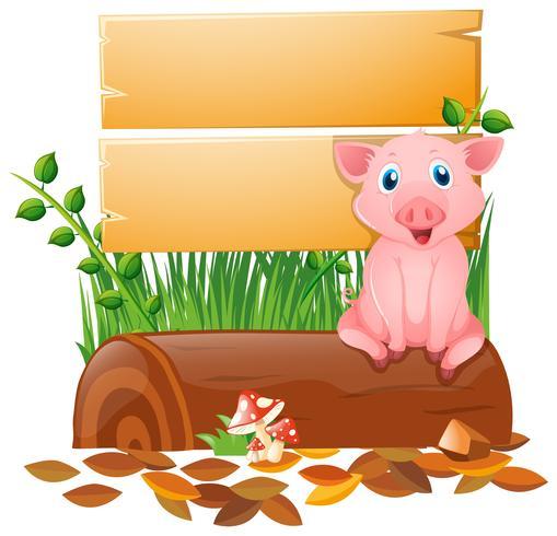 Träbräda med gris på stocken