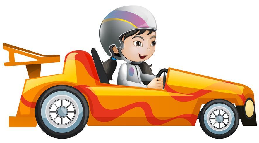 Mulher, em, laranja, carro correndo