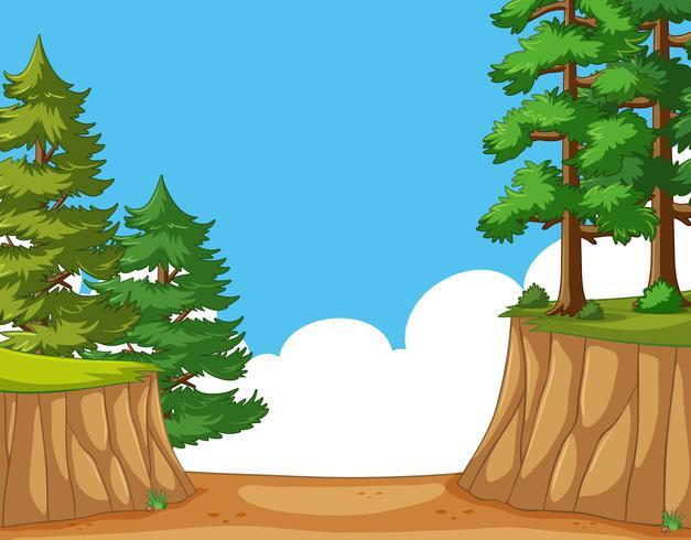 Escena de la naturaleza con árboles en el acantilado