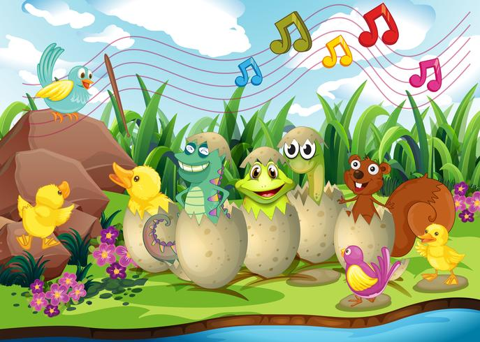 Animals in eggshells by the river
