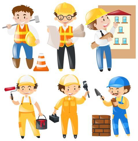 Ocupação diferente, trabalhando no canteiro de obras