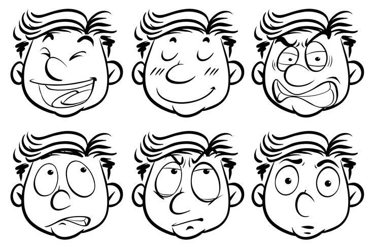 Man met zes verschillende gezichtsuitdrukkingen