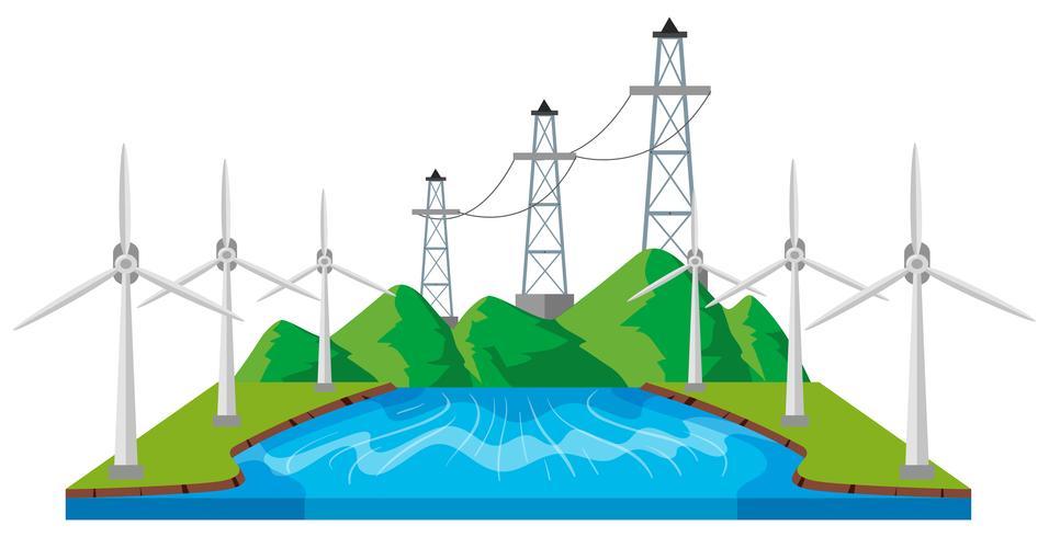 Vindkraftverk och kraftledningar vid floden vektor