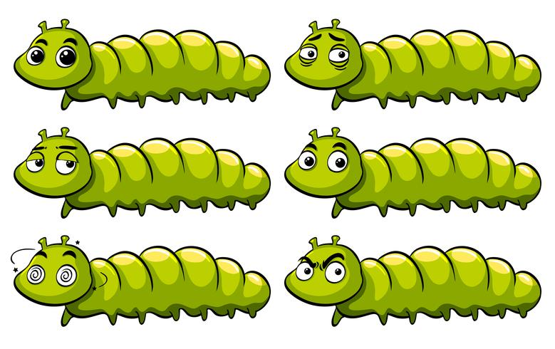 Green caterpillar with different emotions vector