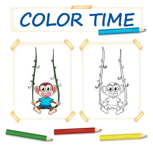 Modello da colorare con scimmia carino