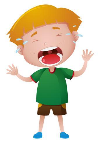 Kleine jongen huilen met tranen