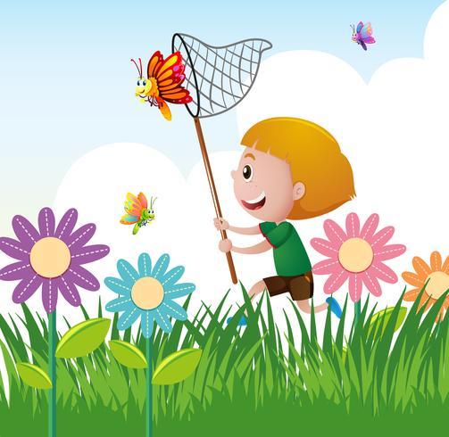 Menino, pegando, borboleta, jardim