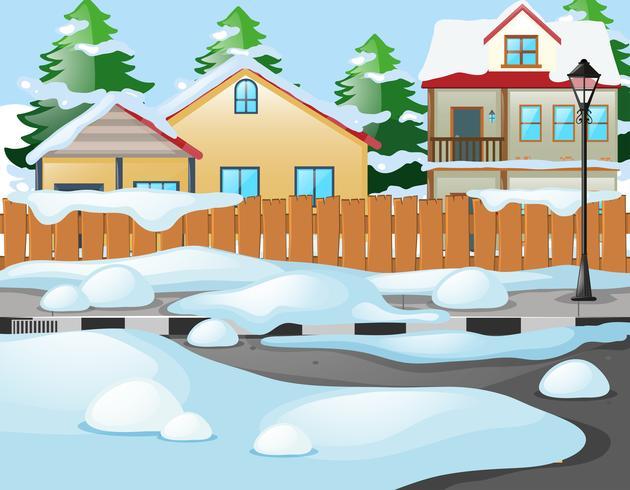 Neighborhood scene in winter time