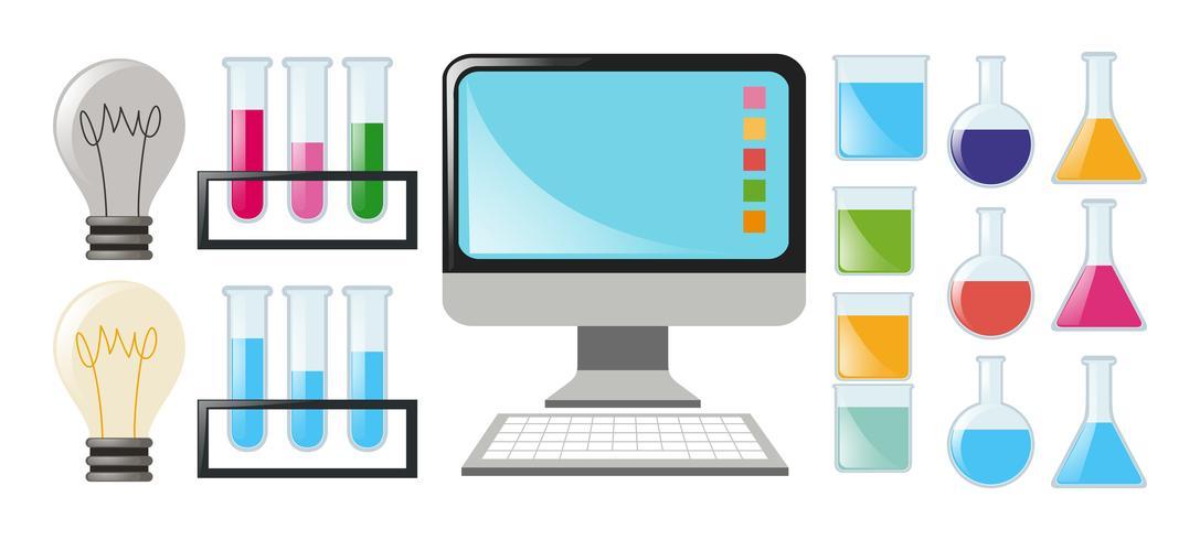 Conjunto de ciencia con cubiletes y ordenador.