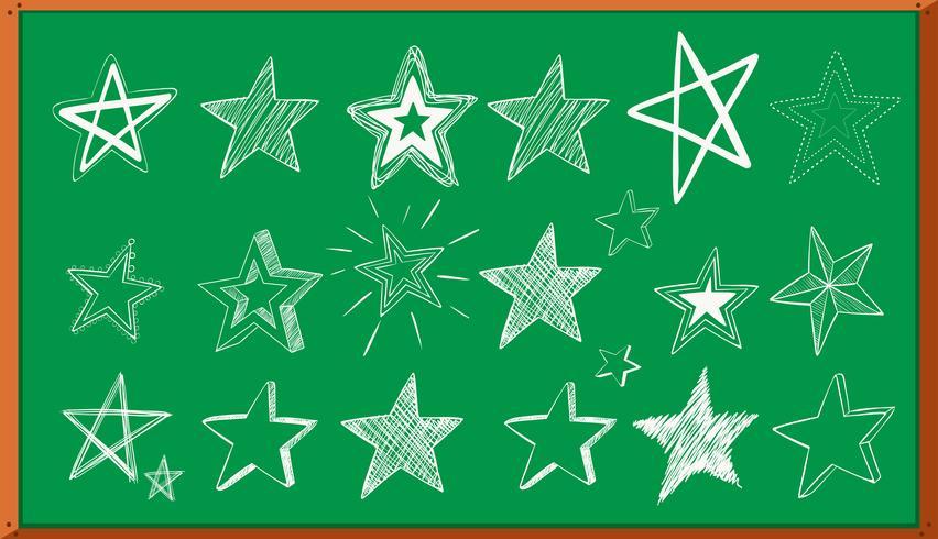 Doodle diferentes diseños de estrellas a bordo. vector