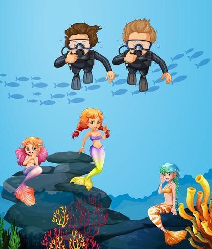 Pessoas, mergulhar subaquático, com, sereias