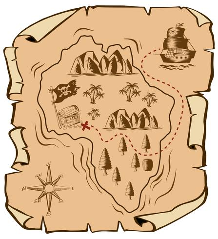 Mapa do tesouro com navio navegando para ilha