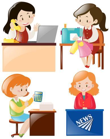 Mulheres fazendo diferentes tipos de trabalho