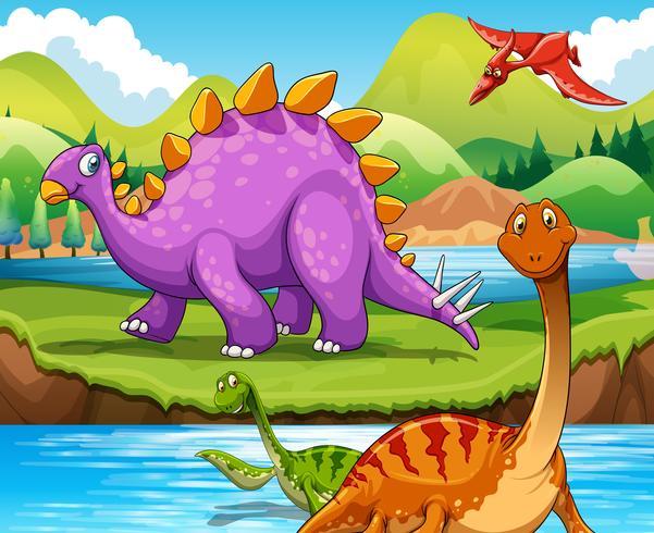 Dinossauros, vivendo, por, a, rio