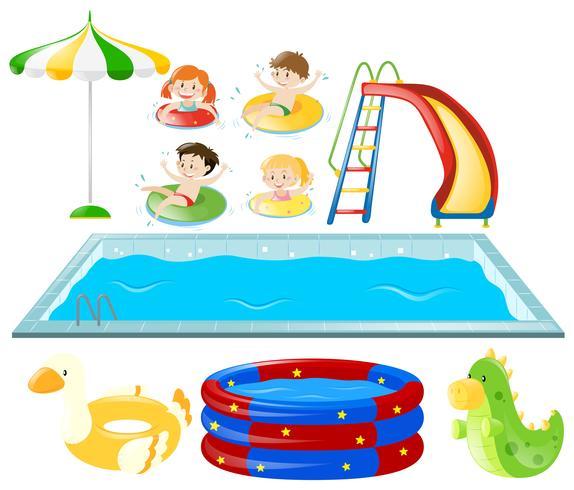 Conjunto com piscina e crianças nadando
