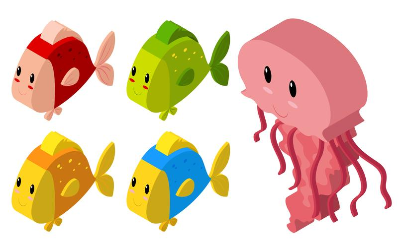 3D-design för maneter och många fiskar vektor