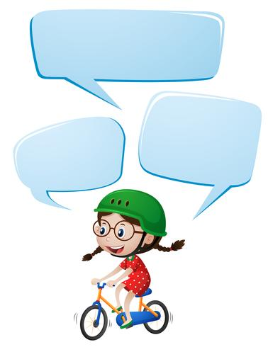 Speech bubble template with girl riding bike