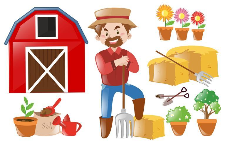 Agricultor e elementos agrícolas