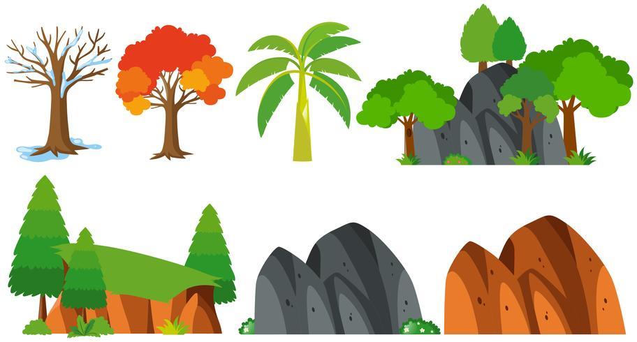 Árvores e montanhas no fundo branco