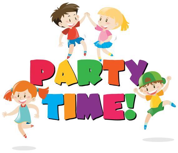 Diseño de cartel con niños en fiesta.