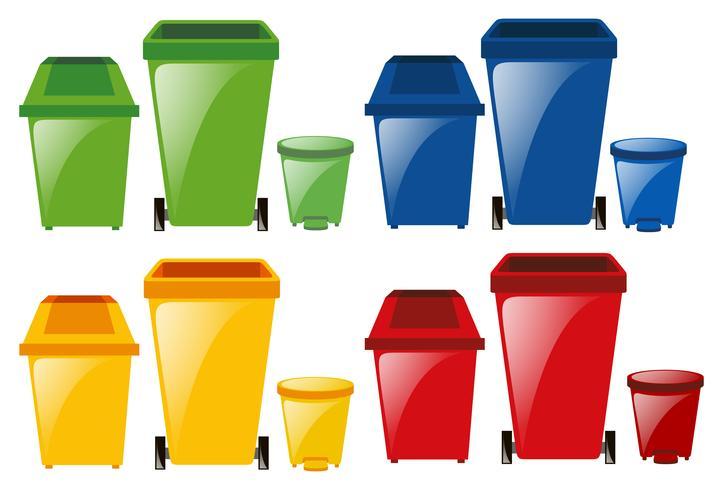 Conjunto de latas de lixo em cores diferentes