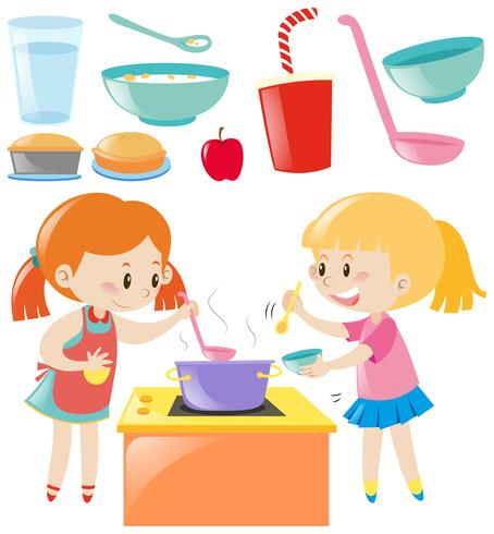 Sats av tjejer matlagning och mat