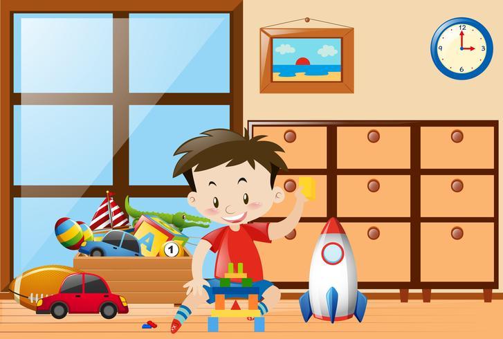 Menino, brinquedos jogando, em, sala