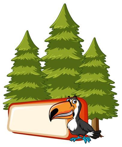 Banner template with toucan bird