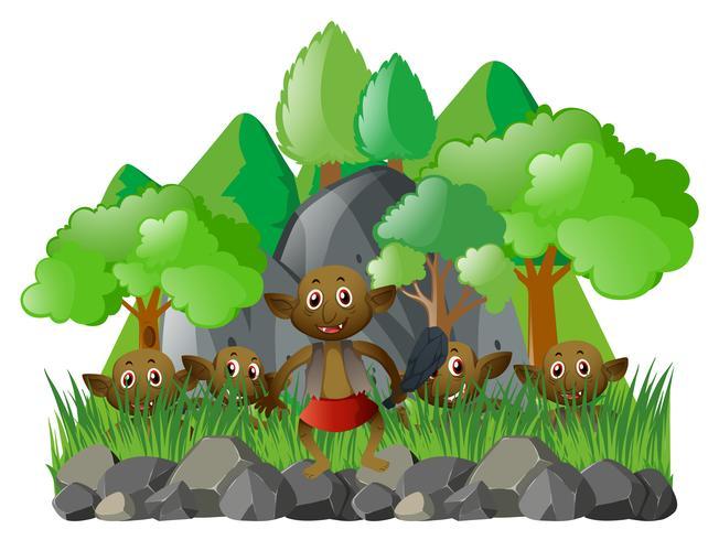 Många älvor i skogen