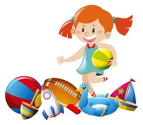 Menina e muitos brinquedos