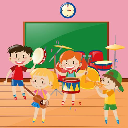 Children playing music in classroom