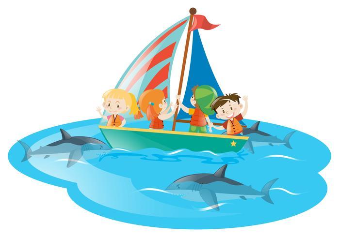 Crianças, ligado, bote, observar, tubarões, natação