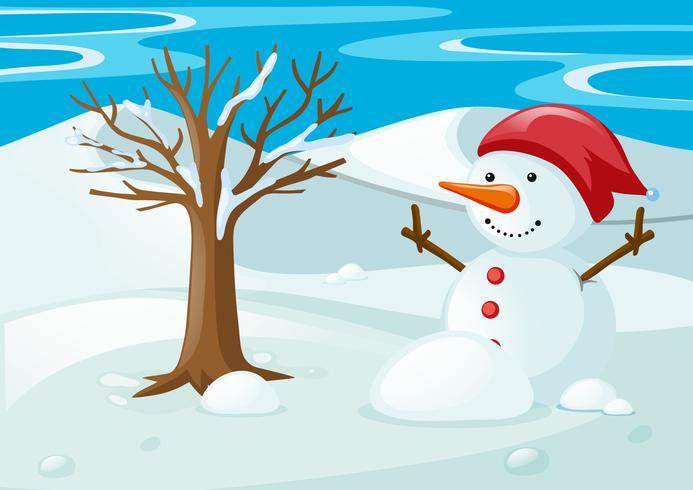 Schneemann auf dem Schneefeld