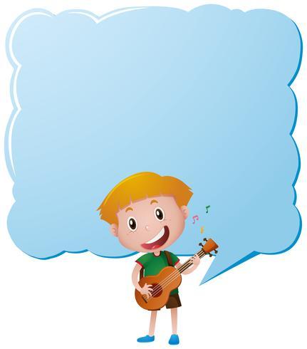 Grensmalplaatje met jongen het spelen gitaar