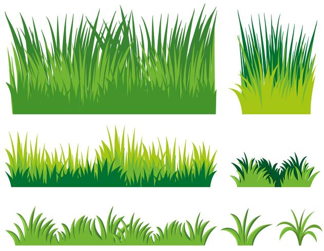 Verschillende doodles van gras