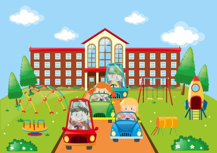 Barn kör bilar till skolan