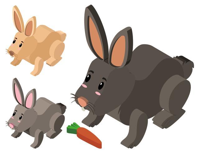 Three cute rabbits in 3D design