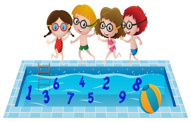 Bambini in costume da bagno giocando con i numeri in piscina