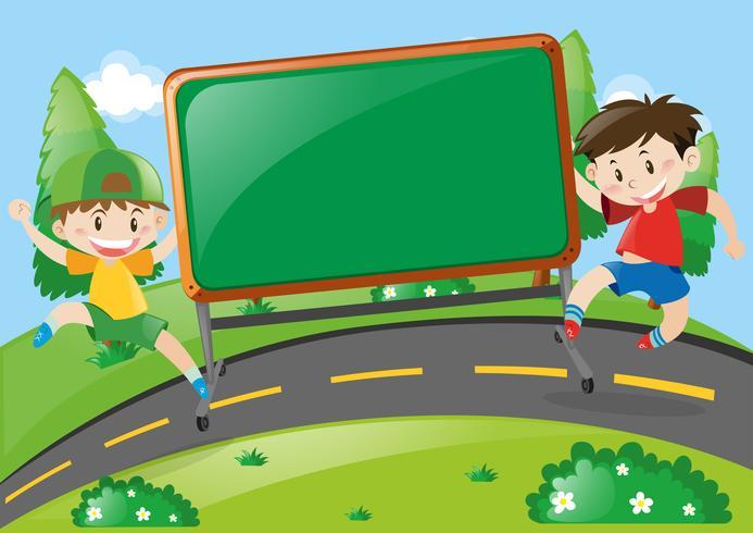 Styrelsedesign med två pojkar på vägen