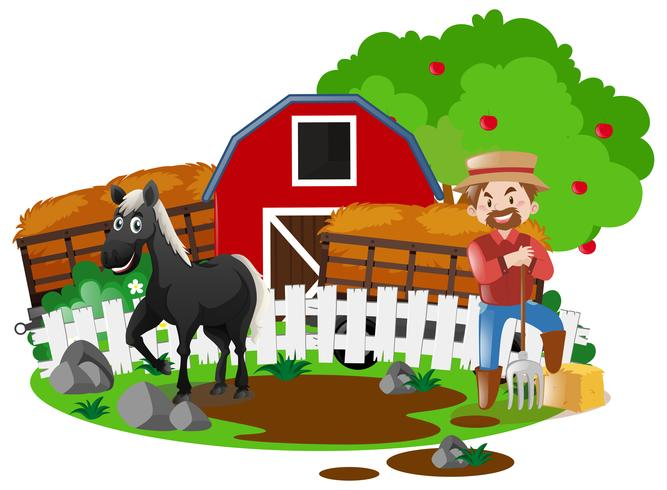 Bonde och häst på gården