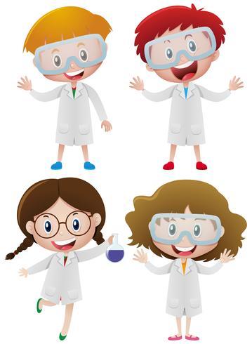 Crianças no vestido de ciência e óculos